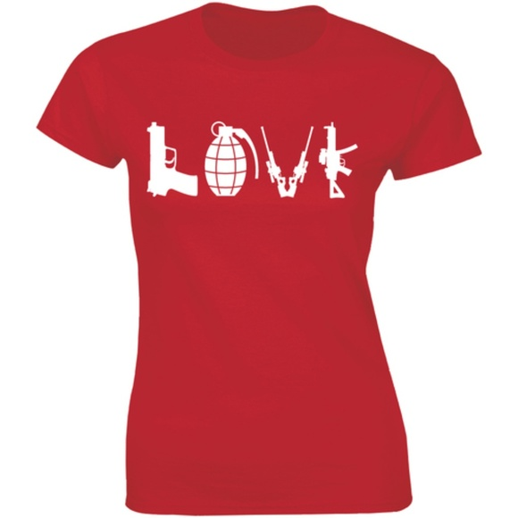 Half It Tops - Love Weapon Funny Weapons Retro War Womens T-shirt
